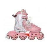 Роликовые коньки раздвижные Vimpex Sport (бело-розовый)