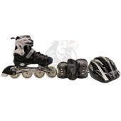 Роликовые коньки раздвижные с комплектом защиты Fora (черный/белый)