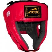 Шлем боксерский боевой Ayoun Profi искусственная кожа (красный)
