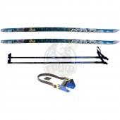 Комплект беговых лыж STC с палками из стекловолокна и креплением под обычную обувь