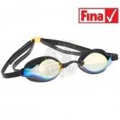 Очки для плавания стартовые Mad Wave Record Breaker Mirror (желтый)