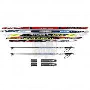 Комплект беговых подростковых лыж STC Galaxy (лыжи+палки стеклопластик+крепление NNN)