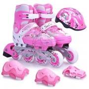Роликовые коньки раздвижные с комплектом защиты Action (розовый)