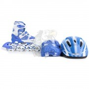 Роликовые коньки раздвижные с комплектом защиты Fora (голубой)