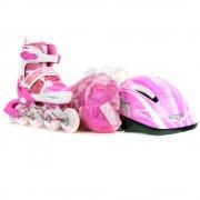 Роликовые коньки раздвижные с комплектом защиты Fora (розовый)