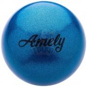 Мяч для художественной гимнастики с насыщенными блестками Amely 190 мм (синий)