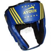 Шлем боксерский боевой Ayoun Profi искусственная кожа (синий)
