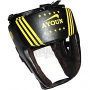 Шлем боксерский боевой Ayoun Profi искусственная кожа (черный)