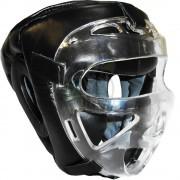 Шлем для единоборств с защитной маской Ayoun кожа (черный)