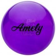 Мяч для художественной гимнастики Amely 150 мм (фиолетовый, с блестками)