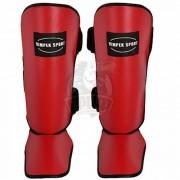 Защита голени и стопы для единоборств Vimpex Sport ПУ (красный)
