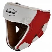 Шлем боксерский Vimpex Sport ПУ (белый/красный)