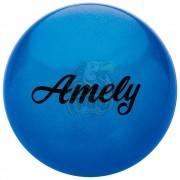 Мяч для художественной гимнастики Amely 190 мм (синий, с блестками)