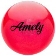 Мяч для художественной гимнастики Amely 190 мм (красный, с блестками)