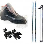 Комплект беговых лыж STC с палками, креплением NN-75 и ботинками Marax MNN