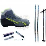 Комплект беговых лыж STC с палками, креплением NNN и ботинками Marax MXN-300