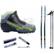 Комплект беговых лыж STC с палками, креплением NNN и ботинками Marax MXN-400