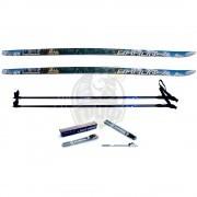Комплект беговых лыж STC с палками из стекловолокна и креплением NNN