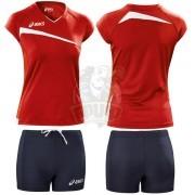 Форма волейбольная женская Asics Set Play Off (красный/синий)