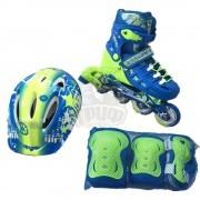 Роликовые коньки раздвижные с комплектом защиты Fora (голубой/зеленый)