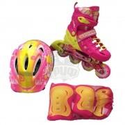 Роликовые коньки раздвижные с комплектом защиты Fora (розовый/желтый)
