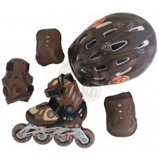 Роликовые коньки раздвижные с комплектом защиты Action (коричневый)