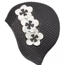 Шапочка для плавания Fashy Babble Cap With Flowers (черный/белый)