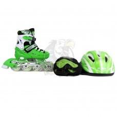 Роликовые коньки раздвижные с комплектом защиты Fora (зеленый)