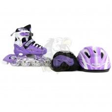 Роликовые коньки раздвижные с комплектом защиты Fora (фиолетовый)
