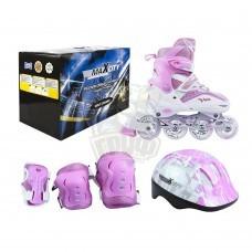 Роликовые коньки раздвижные с комплектом защиты Maxcity Volt Pink