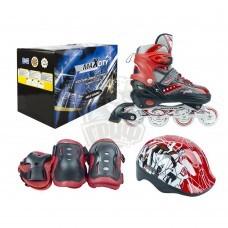 Роликовые коньки раздвижные с комплектом защиты Maxcity Volt Red