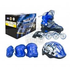 Роликовые коньки раздвижные с комплектом защиты Maxcity Volt Blue