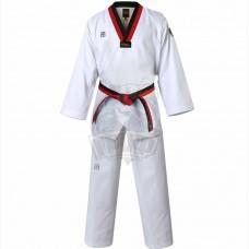 Кимоно тхэквондо (добок) WT Mooto MTX (белый, воротник черный/красный)