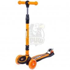 Самокат 3-х колесный со светящимися колесами Ridex 3D Tiny Tot (оранжевый/черный)