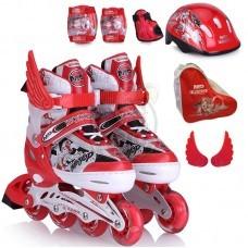 Роликовые коньки раздвижные + комплект защиты  Motion Partner (красный)