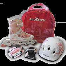 Роликовые коньки раздвижные с комплектом защиты Maxcity Caribo Combo Girl