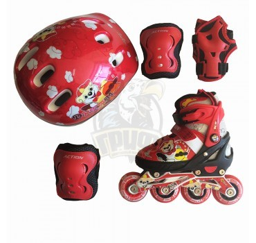 Роликовые коньки раздвижные с комплектом защиты Action (красный)