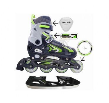 Ролики раздвижные cо сменными рамами Vimpex Sport (зеленый)