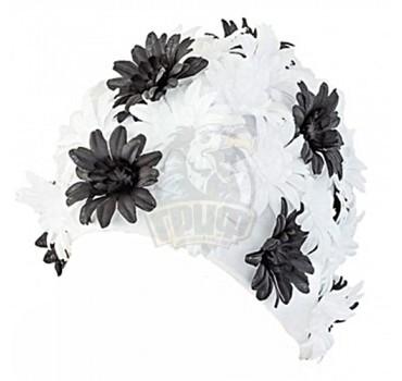 Шапочка для плавания Fashy Petal Cap Flowers (белый/черный)