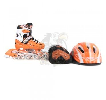 Роликовые коньки раздвижные с комплектом защиты Fora (оранжевый)