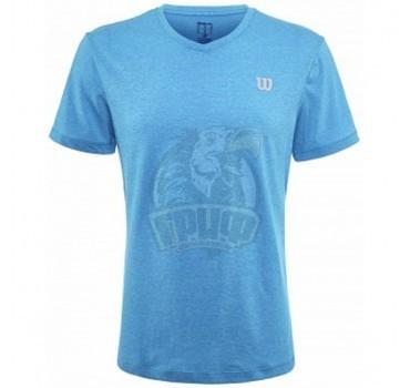 Футболка спортивная мужская Wilson V-Neck Tee Men (голубой)