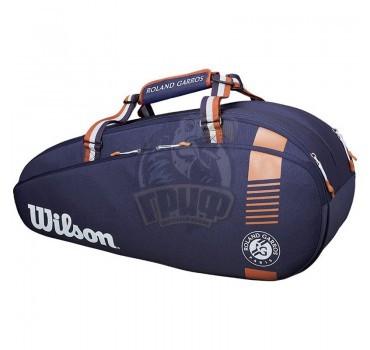 Чехол-сумка Wilson Roland Garros Team на 6 ракеток (синий/коричневый)