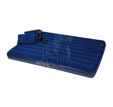 Матрас надувной полутораспальный + насос + 2 подушки Intex Classic Queen