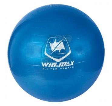 Мяч гимнастический (фитбол) Winmax 75 см с системой антивзрыв + насос (голубой)