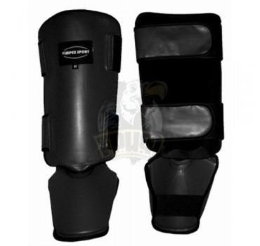 Защита голени и стопы для тайского бокса Vimpex Sport ПУ (черный, синий, красный)