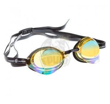Очки для плавания стартовые Mad Wave Turbo Racer II Rainbow (желтый)